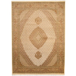 Herat Oriental Pakistani Hand-knotted Tabriz Ivory/ Brown Wool & Silk Rug (9'1 x 12'4)