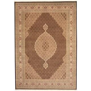 Herat Oriental Indo Hand-knotted Tabriz Wool & Silk Rug (9' x 12')