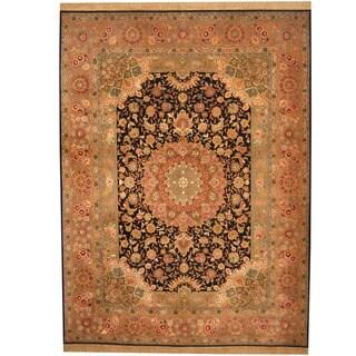 Herat Oriental Indo Hand-knotted Tabriz Wool & Silk Rug (9'2 x 12'3)