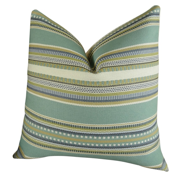 Plutus Chic Stripe Aloe Handmade Double Sided Throw Pillow