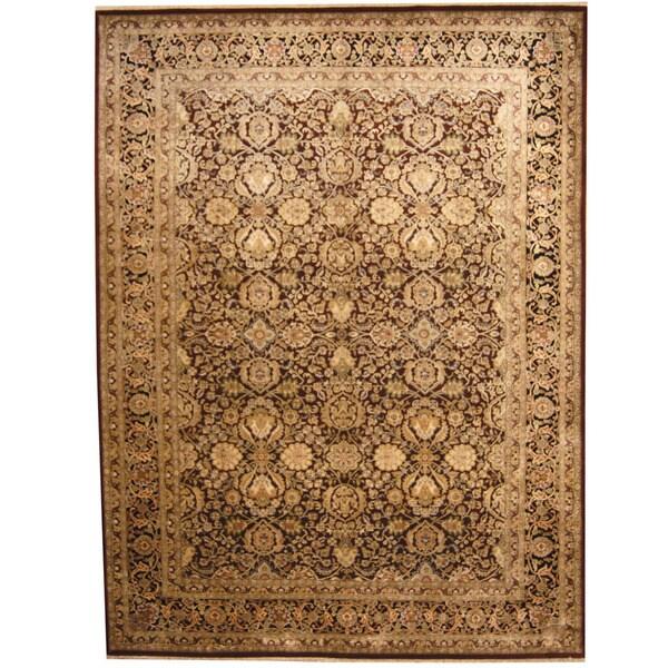 Handmade Herat Oriental Indo Kashan Wool & Silk Rug (India) - 9' x 12'2