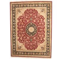 Handmade Herat Oriental Indo Tabriz Wool & Silk Rug  - 9' x 12' (India)