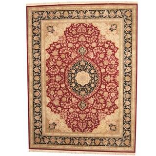 Herat Oriental Indo Hand-knotted Tabriz Wool & Silk Rug (9' x 12') - 9' x 12'
