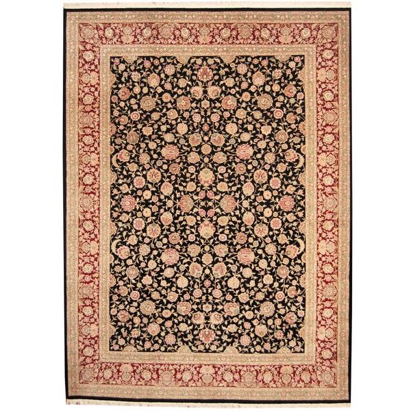 Herat Oriental Indo Hand-knotted Kashan Wool & Silk Rug (9' x 12') - 9' x 12'