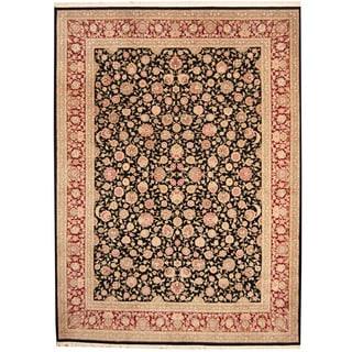 Herat Oriental Indo Hand-knotted Kashan Black/ Red Wool & Silk Rug (9' x 12')