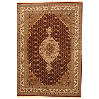 Herat Oriental Indo Hand-knotted Tabriz Wool & Silk Rug (8'3 x 11'4)