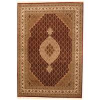 Handmade Herat Oriental Indo Tabriz Wool & Silk Rug (India) - 8'3 x 11'4