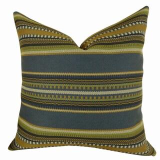 Plutus Chic Stripe Indigo Handmade Double Sided Throw Pillow