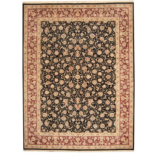 Persian Hand Knotted Kashan Silk And Wool Area Rug Ebth: Herat Oriental Indo Hand-knotted Kashan Wool & Silk Rug (9