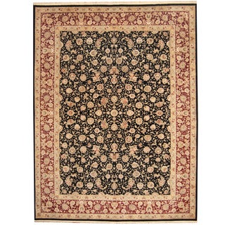 Herat Oriental Indo Hand-knotted Kashan Black/ Burgundy Wool & Silk Rug (9' x 12')