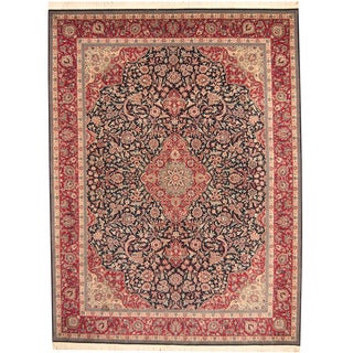 Herat Oriental Indo Hand-knotted Sarouk Navy/ Red Wool Rug (9' x 12')