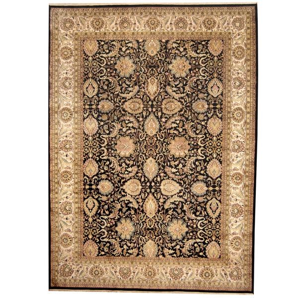 Persian Hand Knotted Kashan Silk And Wool Area Rug Ebth: Herat Oriental Indo Hand-knotted Kashan Wool Rug (9' X 12