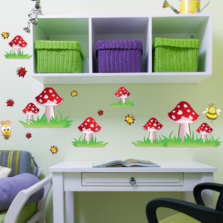 Colorful Mushroom Set Nursery Girls Wall Decal Sticker Mural Vinyl Wall Art