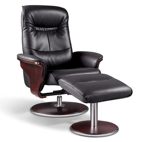 Artiva USA 'Milano' Modern Bend Wood Black Leather Swivel Recliner with Ottoman set