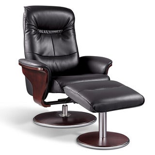 Offex Contemporary Black Bonded Leather Recliner And