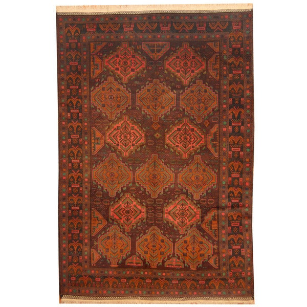 Herat Oriental Afghan Hand-knotted 1960s Semi-antique Balouchi Wool Rug (7'7 x 11'3) - 7'7 x 11'3