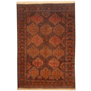 Herat Oriental Afghan Hand-knotted Semi-antique Balouchi Brown/ Black Wool Rug (7'7 x 11'3)