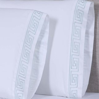Affluence 600TC Greek Key Embroidered Pillowcase (Set of 2) (4 options available)