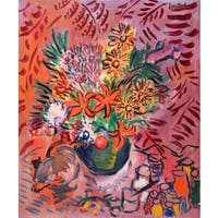 Marmont Hill - 'Kitty and Bouquet' by Michael Woodward Painting Print on Canvas - Multi-color