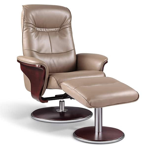 Superb Artiva Usa Milano Modern Bend Wood Latte Leather Swivel Recliner With Ottoman Set Uwap Interior Chair Design Uwaporg