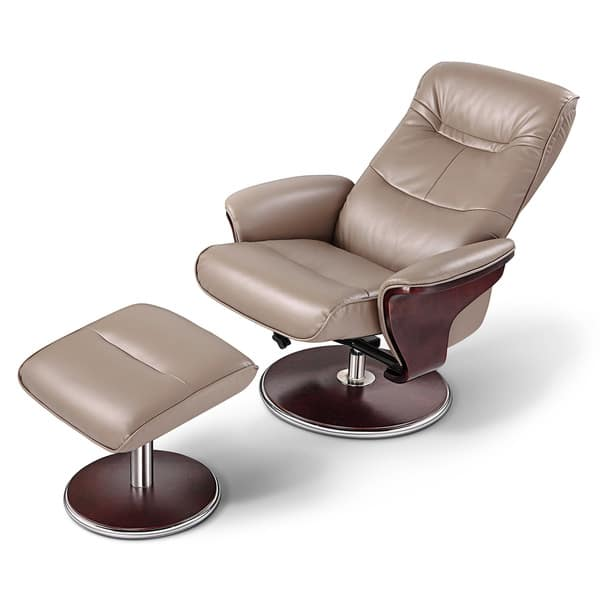 Miraculous Artiva Usa Milano Modern Bend Wood Latte Leather Swivel Recliner With Ottoman Set Uwap Interior Chair Design Uwaporg
