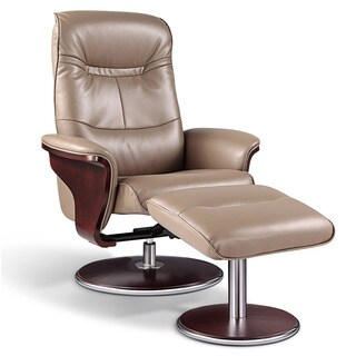 Artiva USA 'Milano' Modern Bend Wood Latte Leather Swivel Recliner with Ottoman set