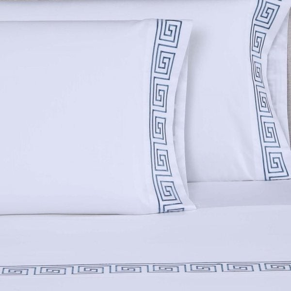 Affluence 600 Thread Count Greek Key 4-piece Embroidered Sheet Set