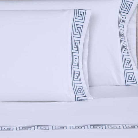 The Curated Nomad Bolero 600 Thread Count Greek Key 4-piece Embroidered Sheet Set