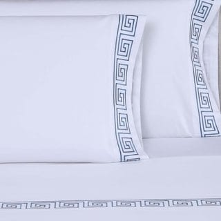 Affluence 600TC Greek Key 4-piece Embroidered Sheet Set