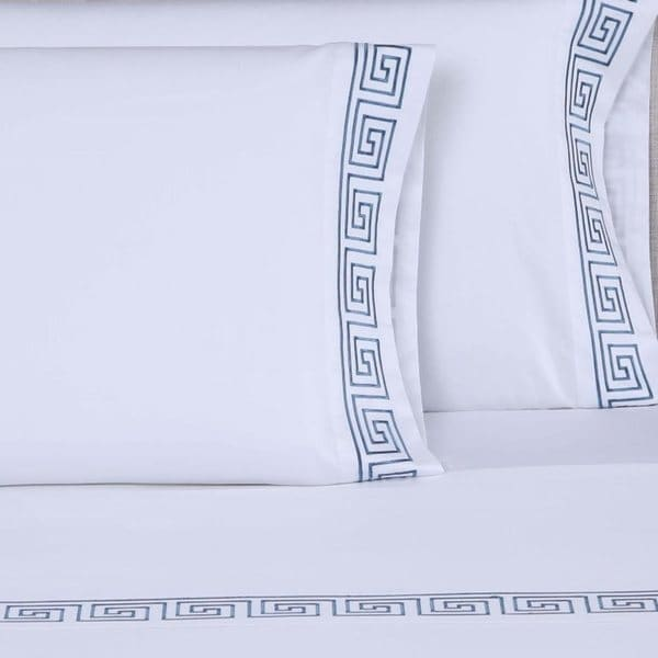 Strick & Bolton Cage 600 Thread Count Greek Key 4-piece Embroidered Sheet Set