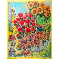 Marmont Hill - 'Summer Garden' by Michael Woodward Painting Print on Canvas - Multi-color