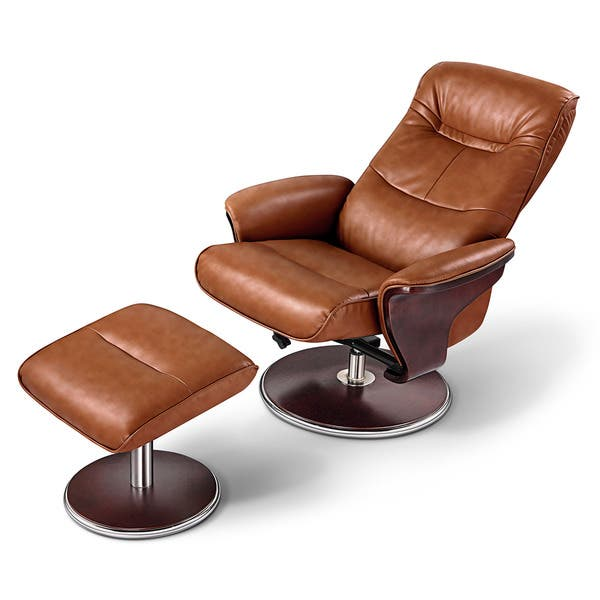Magnificent Artiva Usa Milano Modern Bend Wood Brown Leather Swivel Recliner With Ottoman Set Uwap Interior Chair Design Uwaporg