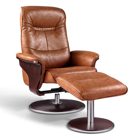 Artiva USA 'Milano' Modern Bend Wood Brown Leather Swivel Recliner with Ottoman set