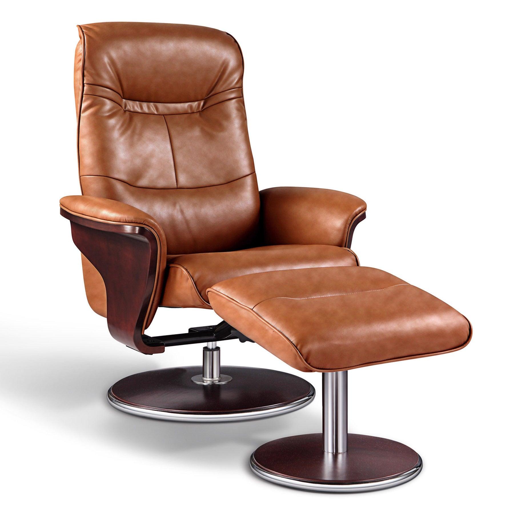 ARTIVA USA 'Milano' Modern Bend Wood Brown Leather Swivel...