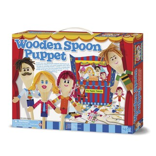 4M Wooden Spoon Puppet Theatre Playset and Craft Kit