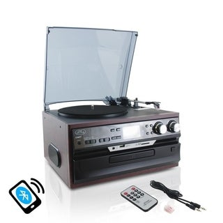 Pyle PTTCDS72UBT Vintage Classic Style Bluetooth Turntable Vinyl Record Player with Vinyl-to-MP3 Recording