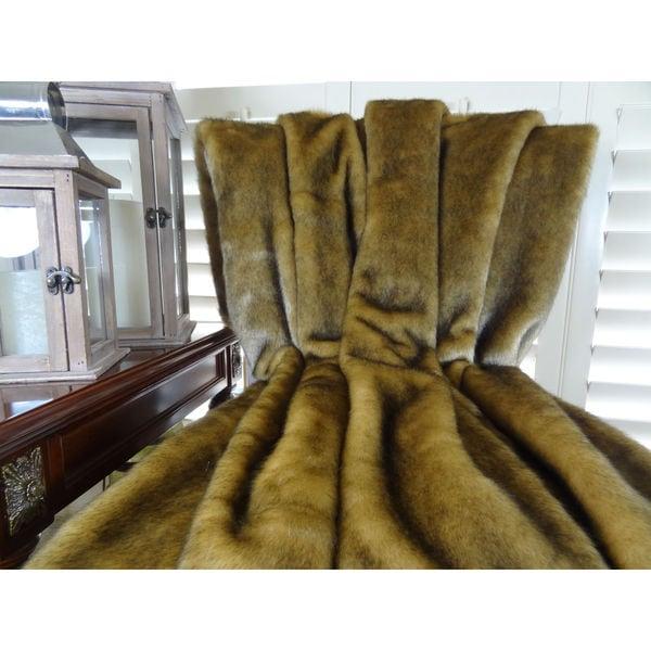 Plutus Wild Mink Faux Fur Handmade Throw