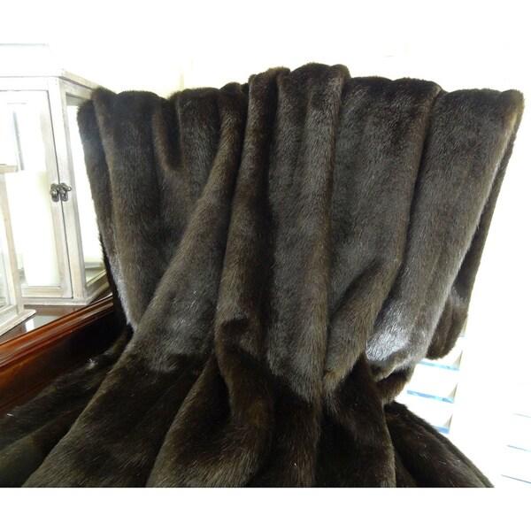 Plutus Tip Dyed Brown Mink Fur Handmade Throw