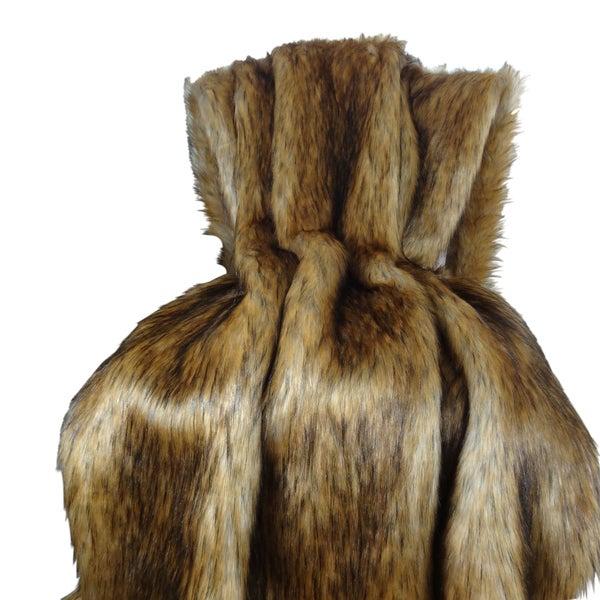 Plutus Faux Fur Mountain Coyote Handmade Throw