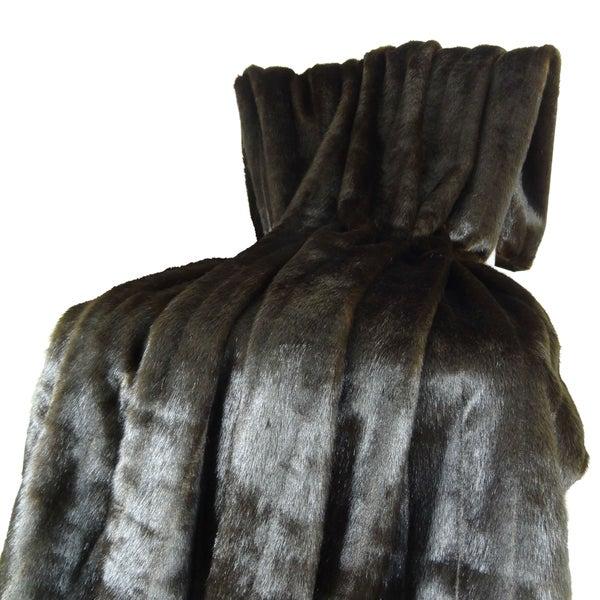 Plutus Tip Dyed Brown Faux Mink Fur Handmade Blanket