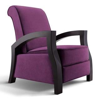 Artiva USA 'KUTA' Solid Wood Java Black and Premium Purple Microvelvet Recliner