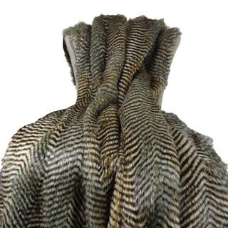 Plutus Grey Faux Fur Fox Handmade Blanket