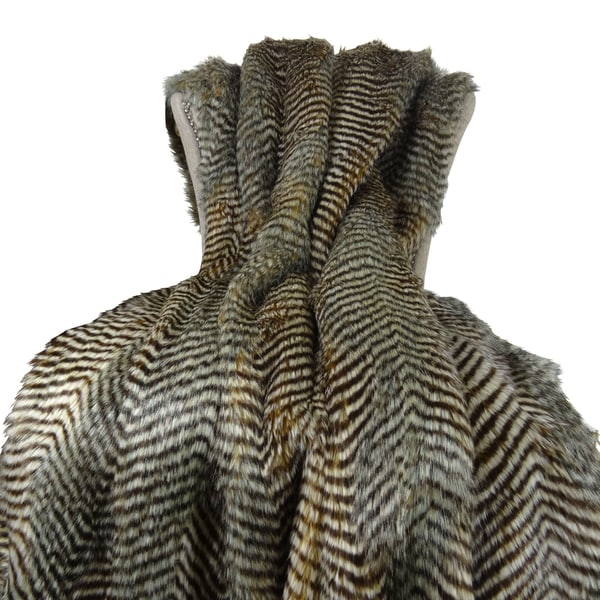 Plutus Grey Faux Fur Fox Handmade Blanket