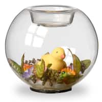 4-inch Round Glass Candle Holders with Duck and Flowers (Set of 4)