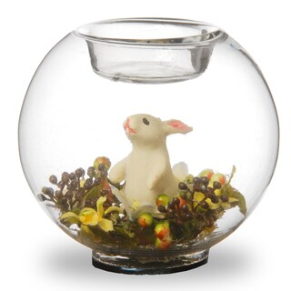 4-inch Round Glass Candle Holders with Bunny and Yellow Flowers (Set of 4)