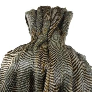 Plutus Grey Faux Fur Fox Handmade Throw Blanket