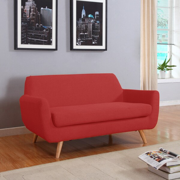 mid century modern linen fabric loveseat living room furniture free