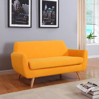 Mid Century Modern Linen Fabric Loveseat Living Room Furniture