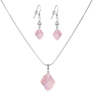 Jewelry by Dawn Pink Cosmic Austrian Crystal Sterling Silver Necklace And Earring Set