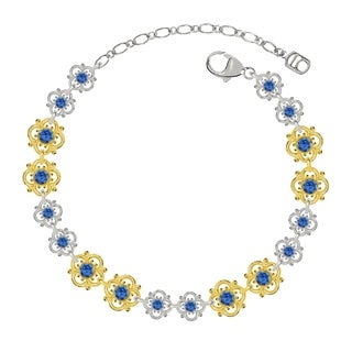 Lucia Costin Sterling Silver Blue Crystal Bracelet